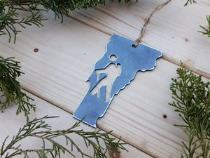 Vermont State Metal Ornament with Hikers