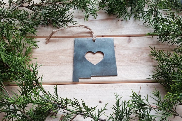Love New Mexico State Steel Ornament Rustic NM Metal State Heart Host Gift Keepsake Travel Wedding Favor By BE Creations