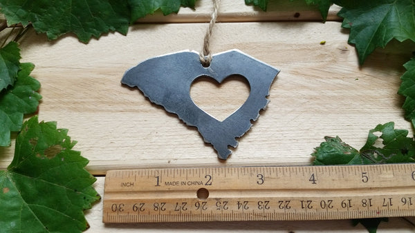 South Carolina State Metal Ornament with Heart