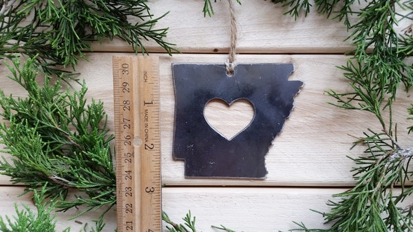 Arkansas State Rustic Raw Steel Christmas Ornament with Heart