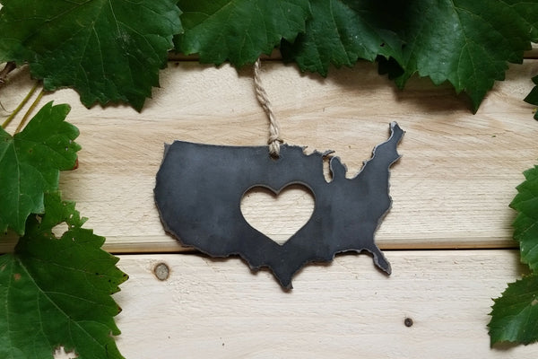 Love USA Steel Ornament Rustic United States of America Metal Heart Host Gift Keepsake Travel Wedding Favor By BE Creations