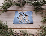Oregon State Metal Ornament with Hikers