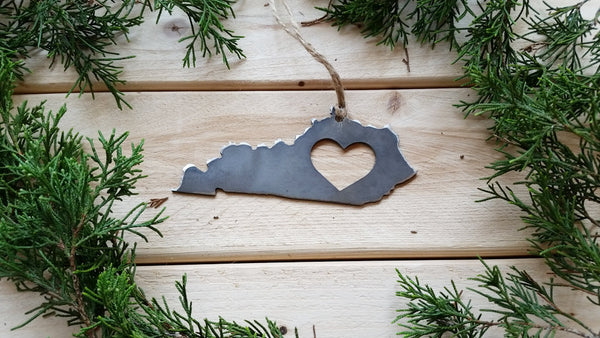 Kentucky State Rustic Raw Steel Ornament with Heart