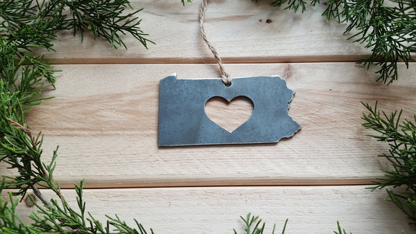 Pennsylvania Metal Ornament with Heart