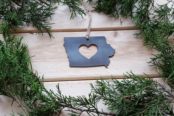 Iowa State Rustic Raw Steel Metal Ornament