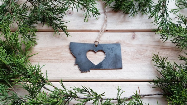 Montana State Metal Ornament with Heart