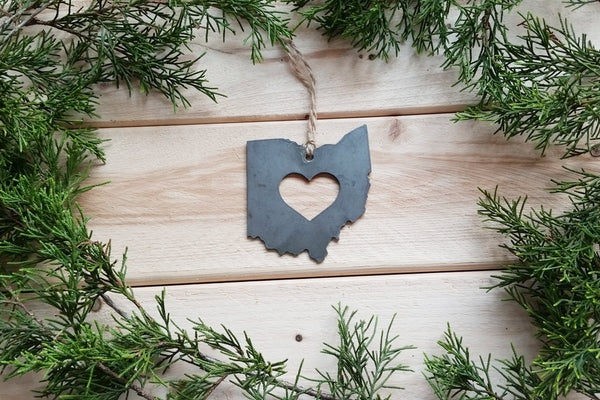 Love Ohio State Steel Ornament Rustic OH Metal State Heart Host Gift Keepsake Travel Wedding Favor By BE Creations