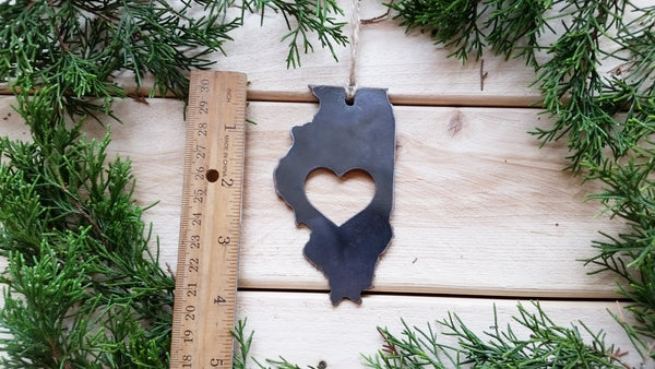 Illinois State Rustic Raw Steel Metal Ornament