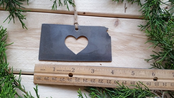 Kansas State Rustic Raw Steel Ornament with Heart
