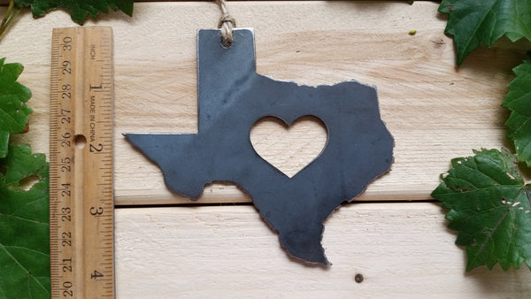 Texas State Rustic Raw Steel Metal Ornament