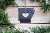 Arkansas State Metal Ornament with heart