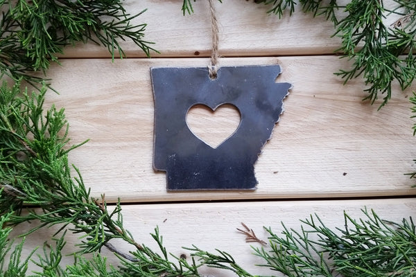 Arkansas State Christmas Ornament with heart