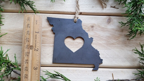 Missouri State Metal Ornament with Heart
