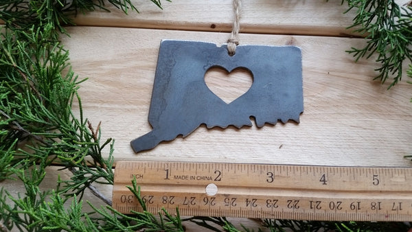 Connecticut State Rustic Raw Steel Metal Ornament
