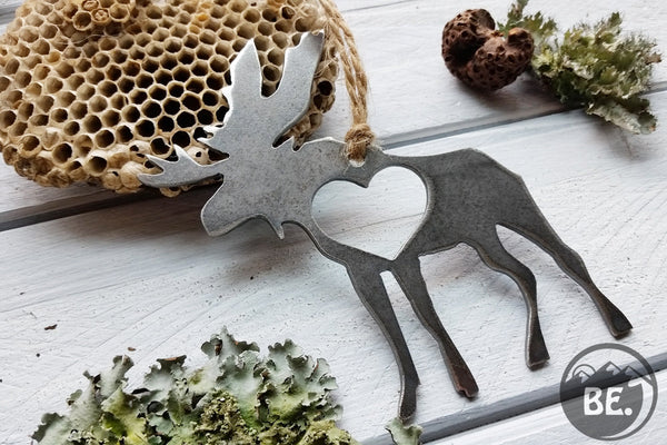 Moose Rustic Raw Steel Metal Ornament