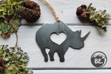 Rhino Metal Ornament with Heart