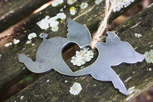 Flying Pig Metal Ornament with Heart