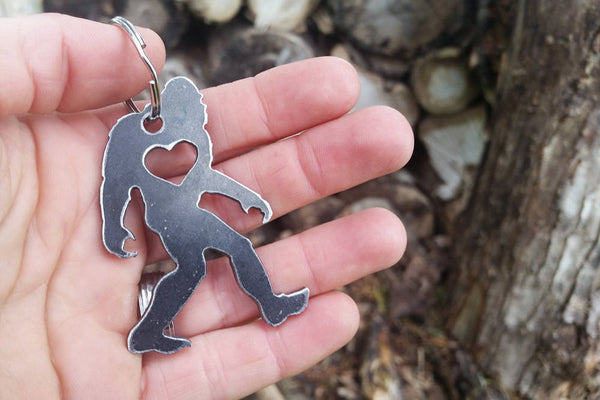 Yeti Bigfoot Sasquatch Rustic Steel Metal Key Chain Folklore Legend Wander Myth By BE Creations