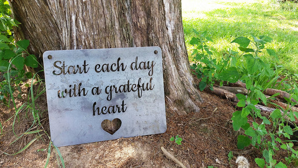 Start each day with a grateful heart Rustic Wall Decor
