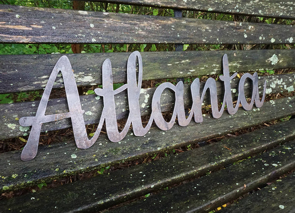 """Atlanta"" Rustic Raw Steel Cursive Word Art Wall Decor Sign"