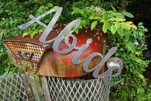 "18"" Abide Rustic Raw Steel Cursive Word Art Sign"