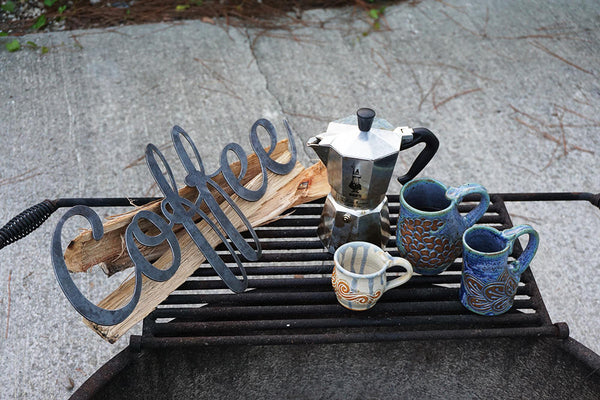 Coffee Rustic Raw Steel Cursive Word Sign Cup of Joe Morning Coffee Metal Sign by BE Creations