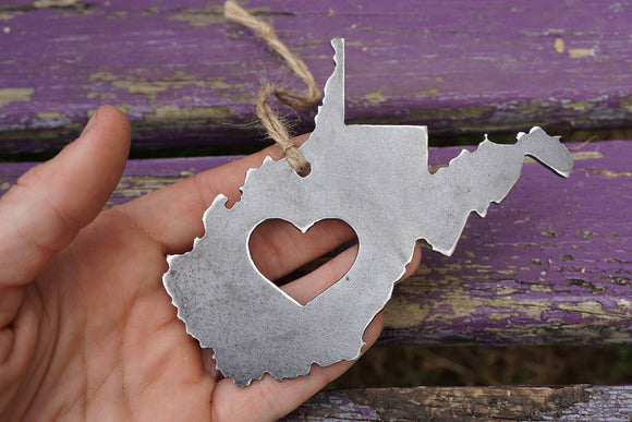 West Virginia State Metal Ornament