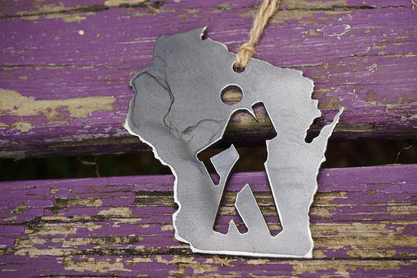 Wisconsin State Ornament with Hiker