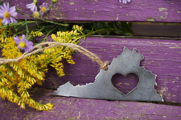 Virginia State Metal Ornament with Heart