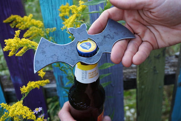 Bat Rustic Raw Steel Bottle Opener