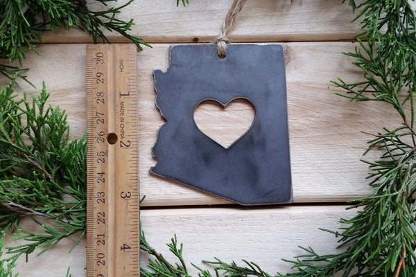 Arizona Rustic Raw Steel Christmas Ornament with Heart