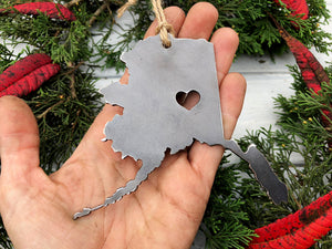 Alaska State Metal Ornament with tiny heart over Fairbanks