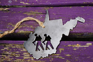 West Virginia State Metal Ornament with Hikers