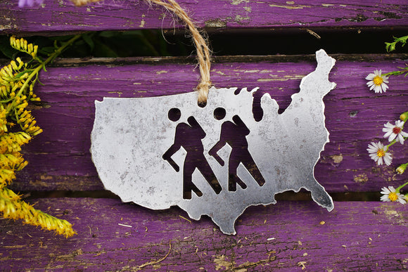 United States of America Ornament with Hikers