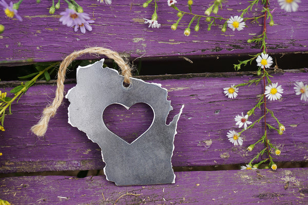 Wisconsin State Metal Ornament with Heart