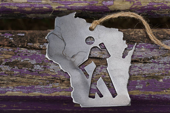 Wisconsin State Metal Ornament with Hiker