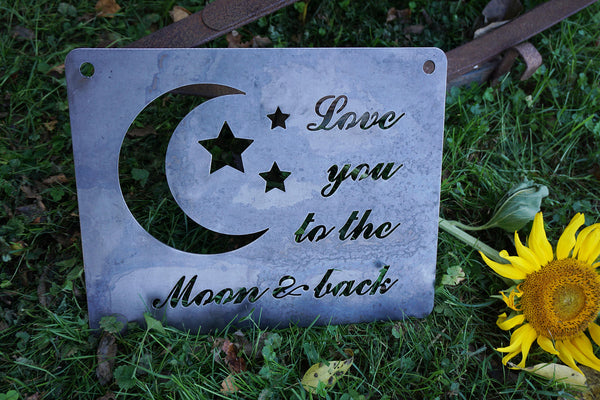 "14"" x 11"" ""Love You to the Moon and Back"" Rustic Raw Steel Inspirational Sign Wall Decor"