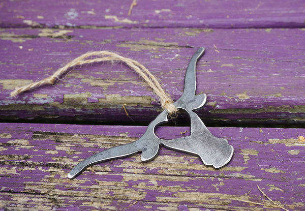 Long Horn Steer Cow Cattle Rustic Raw Steel Ornament with Heart