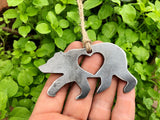 Baby Bear Metal Ornament with Heart