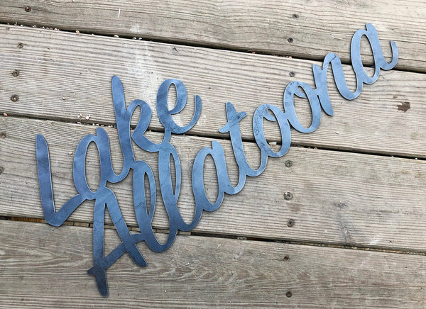 "Lake Allatoona 23"" Rustic Raw Steel Cursive Word Art Wall Sign Metal home decor by BE Creations"
