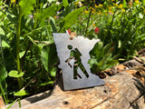 Minnesota State Metal Ornament with Hiker