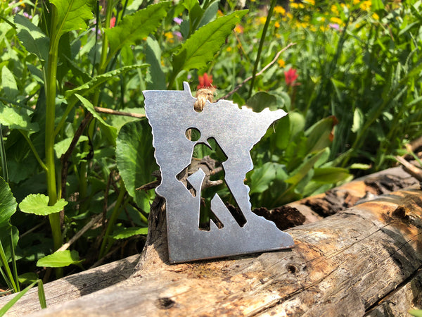 Minnesota State Ornament with Hiker