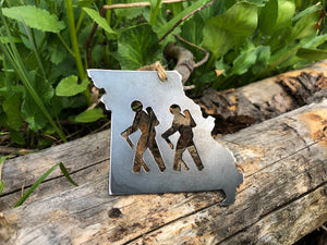 Missouri State Metal Ornament with Hikers