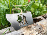 Montana State Metal Ornament with Hikers