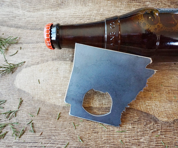 Arkansas State Rustic Steel Recycled Metal Industrial Bottle Opener, AR Travel Gift, wedding favor, Party gift, beer opener