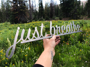 "just breathe 23"" Cursive Wall Art"