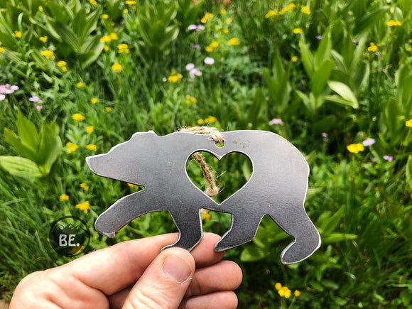 Bear Metal Ornament with Heart