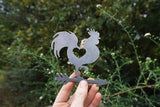 Rooster Metal Ornament with Heart