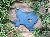 Texas State Metal Ornament with tiny heart over Austin