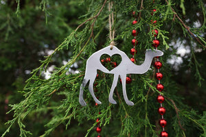 Camel Metal Ornament with Heart